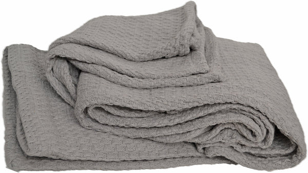 Large Knitted Throw Blanket Grey Soft Waffle Cotton - DesignsEmporium
