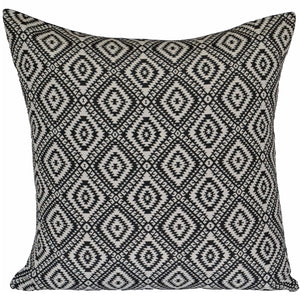 Retro Black Cushion Covers Ivory Cream Diamonds Aztec 60cm 24x24""