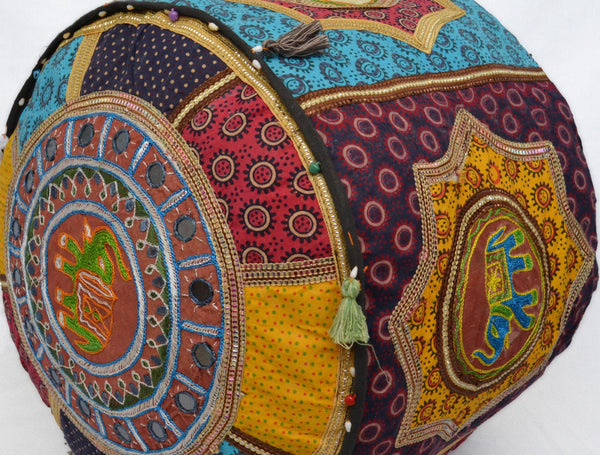 Elephant Patchwork Bean Bag Cover Fabric Cotton Pouffe Handmade 50cm - DesignsEmporium