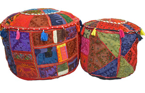 Bean Bag Cover FootStall Pouffe Recycled Fabric Large Handmade - DesignsEmporium