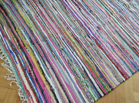 Chindi Rag Rug Runner Shabby Chic Handloom Recycled Cotton 150x210cm
