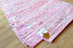 Large Chindi Pink Rug Handmade Recycled Cotton