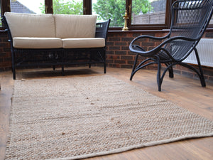 Large Natural Jute Rug Handmade Knotted Dhurrie