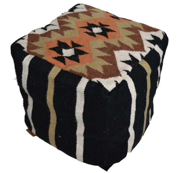 "Bean bag Cover Kilim Pouffe Wool 40cm 16"" Cube Ottoman Brown - DesignsEmporium"