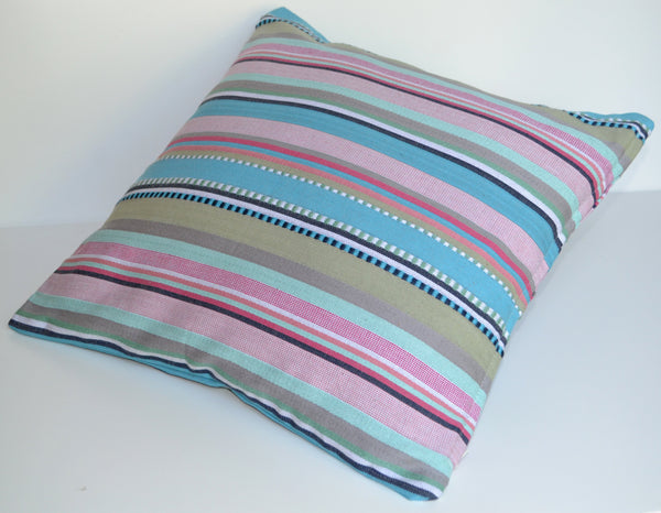 Paradise Rainbow Blue Pink Cushion Covers Colourful Woven Stripes Many Sizes - DesignsEmporium