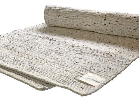 White Rug Chindi Rag Handmade Recycled Cotton - DesignsEmporium