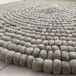 Round Rug Grey Pom Pom Felt Wool Balls 120cm Hand Made Indian