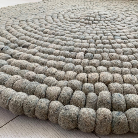 Round Grey Rug Pom Pom Felt Wool Balls 120cm Hand Made Indian