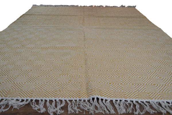Yellow White Area Cotton Rug Diamond Geometric Pattern 4x6 - DesignsEmporium