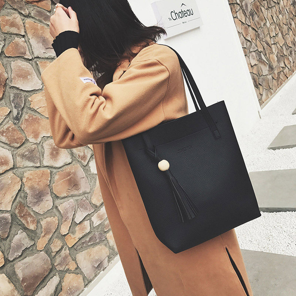 86aa27b583b4 ... 3 Pcs Women Lady PU Leather Handbag Shoulder Bag Tote Purse Messenger  Bag ...