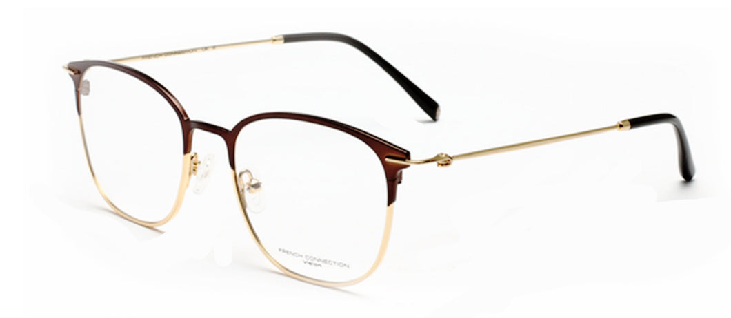 French Connection FC-8083-C2 Matte Brown/Gold Square Eyeglasses