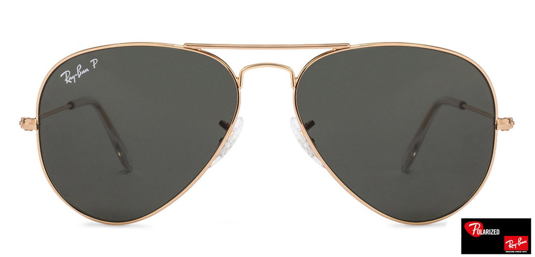 Ray-Ban RB3025 Large (Size-55) Golden Grey 001/58 Men Polarized Sunglasses