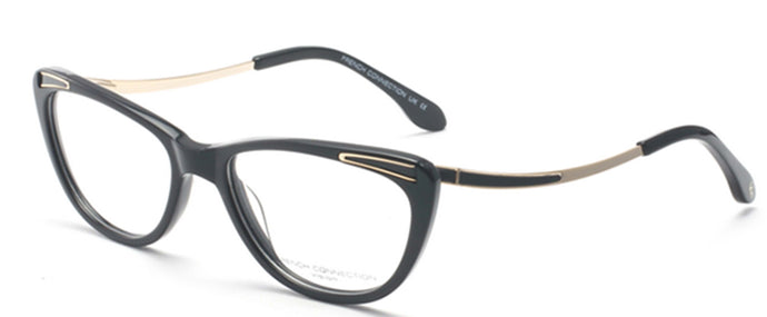 French Connection FC-8066-C1 Black/Gold Cateye Eyeglasses