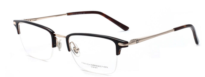 French Connection FC-8072-C2 Gold/Brown Rectangle Eyeglasses