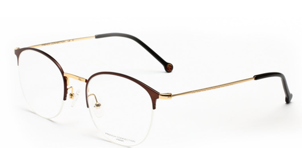 FCUK FC-8087-C2 Matte Brown/Gold Round Eyeglasses