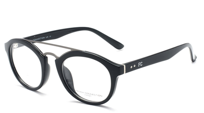 French Connection FC-8061-C1 Gunmetal/ Black Oval Eyeglasses