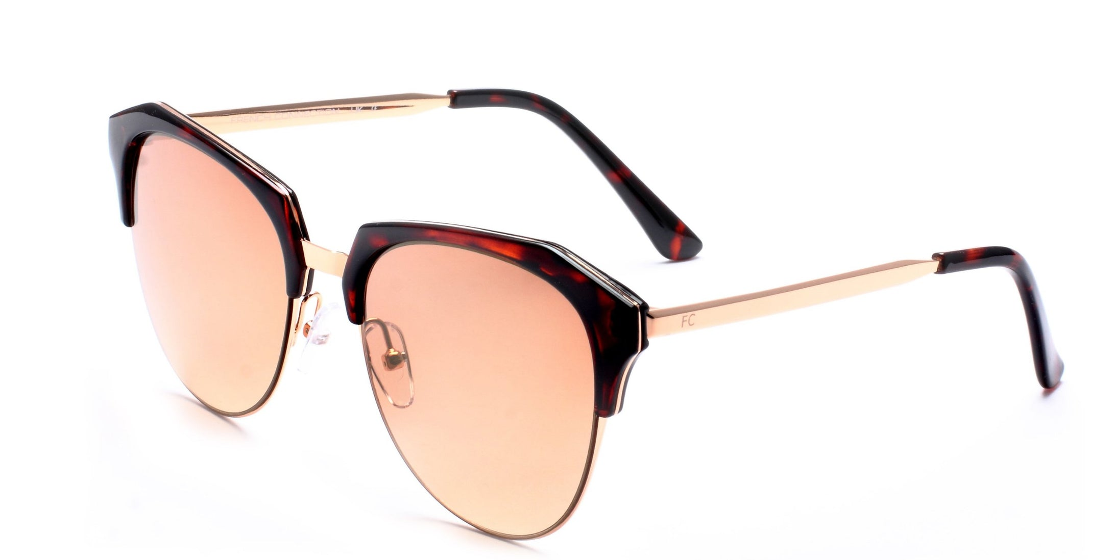 French Connection FC-7405-C2 Gold Brown Round Sunglasses