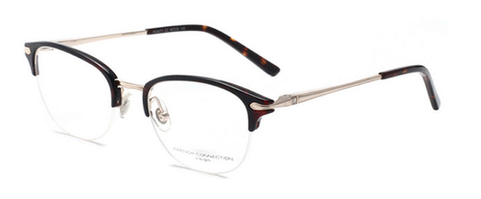 French Connection FC-8071-C2 Gold/ Brown Oval Eyeglasses