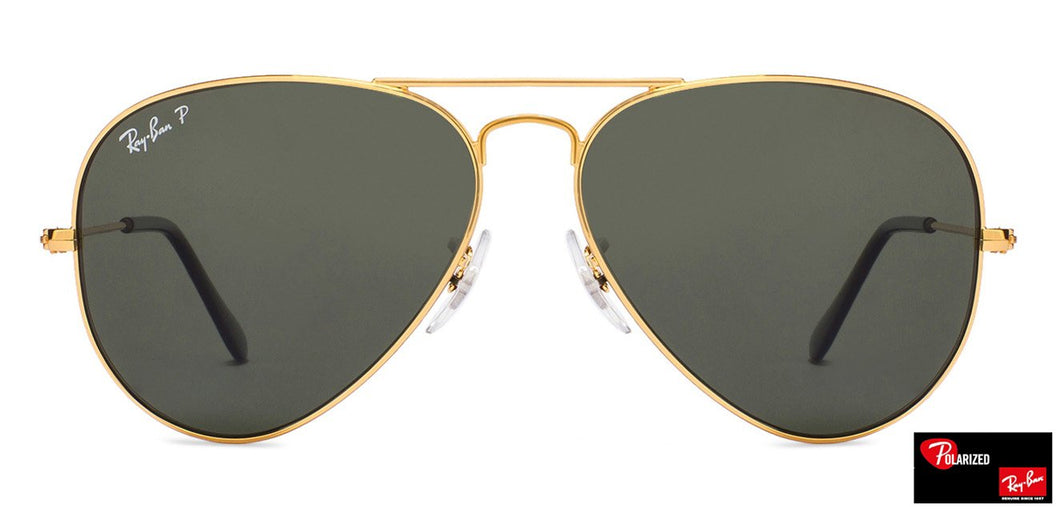 Ray-Ban RB3025 Large (Size-58) Golden Natural Green Unisex Polarized Sunglasses