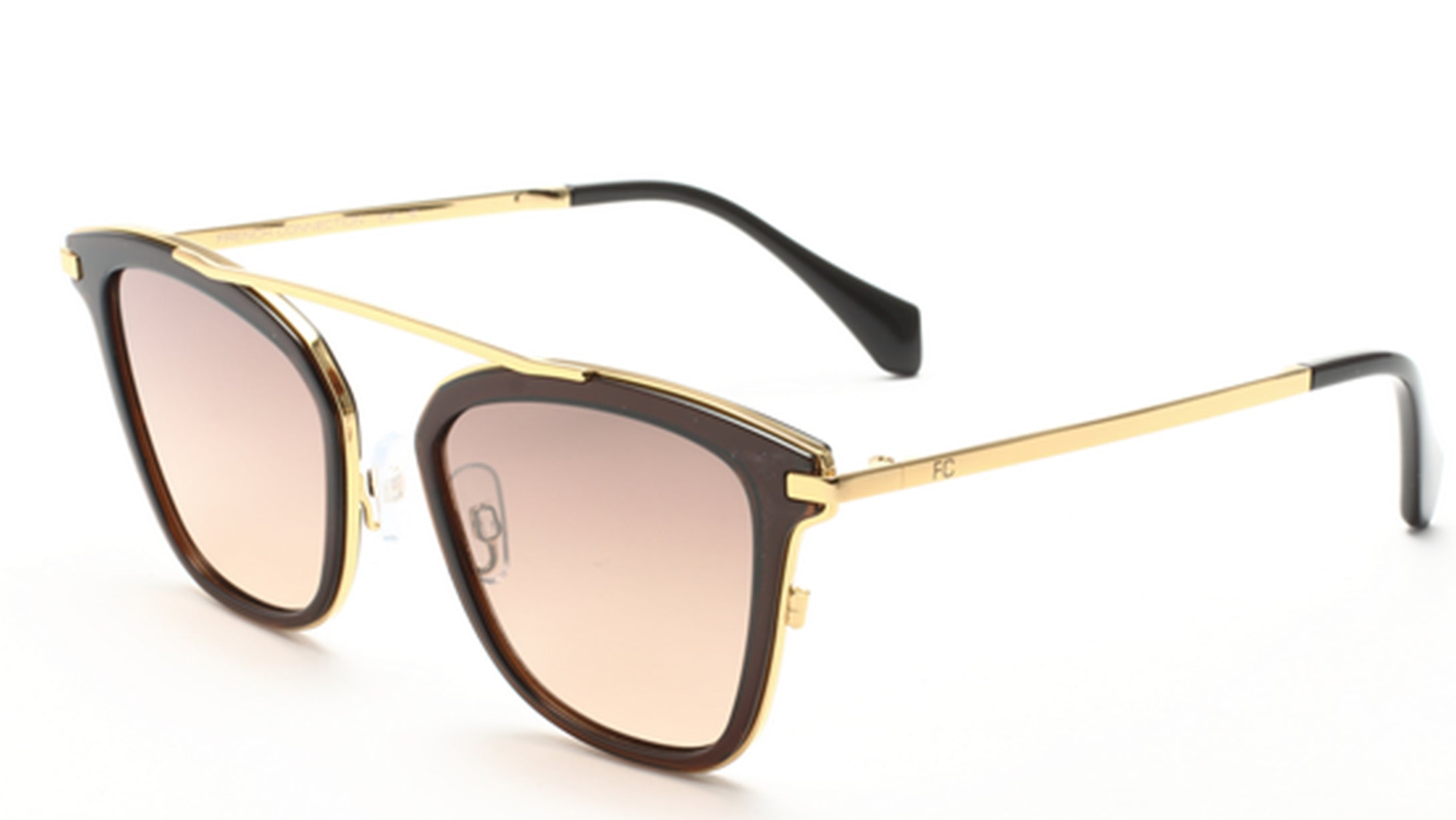 French Connection FC-7391-C2 Gold/Brown Square Sunglasses