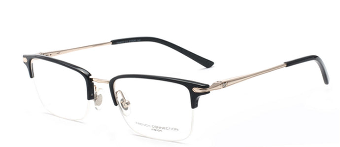 French Connection FC-8072-C1 Gold/Black Rectangle Eyeglasses