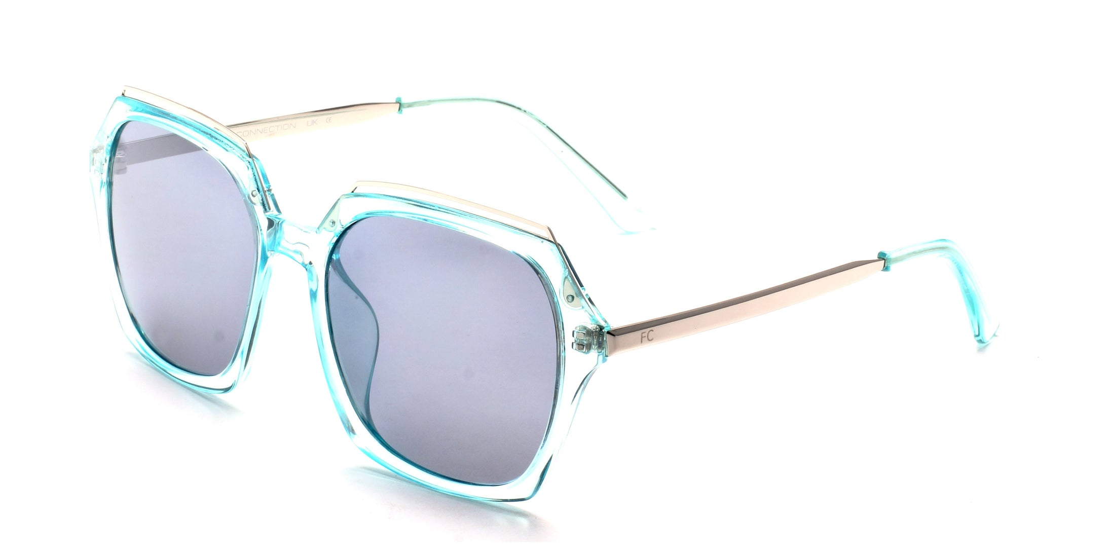 French Connection FC-7404-C3 Gunmetal Blue Square Sunglasses