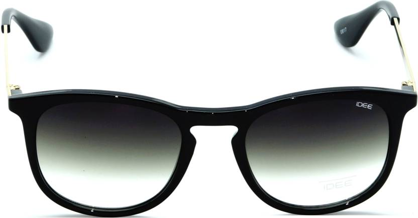 IDEE S2304-C1 Black Frame With Light Green Mirror Unisex Round Sunglasses