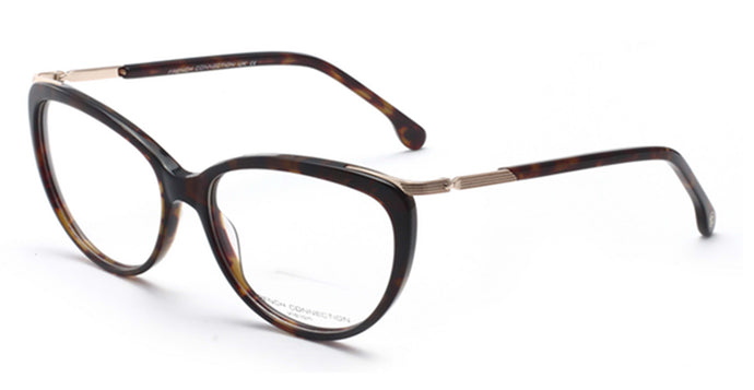 French Connection FC-8067-C2 Havana Brown Oval Eyeglasses