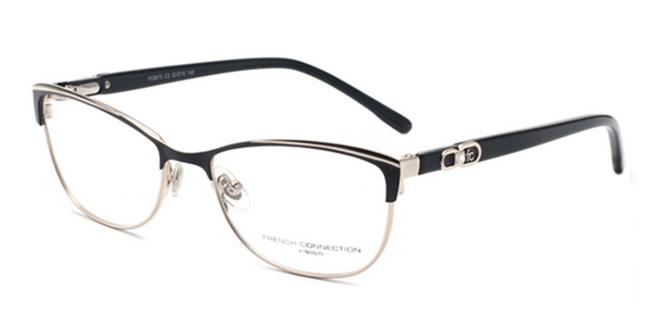 French Connection FC-8075-C3 Matte Black/Gold Cateye Eyeglasses