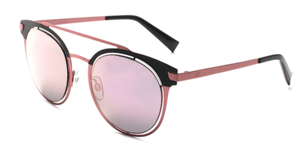 French Connection FC-7374-C2 Matte Black/Pink Oval Sunglasses