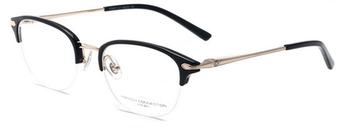 French Connection FC-8071-C3 Gunmetal/ Black Oval Eyeglasses