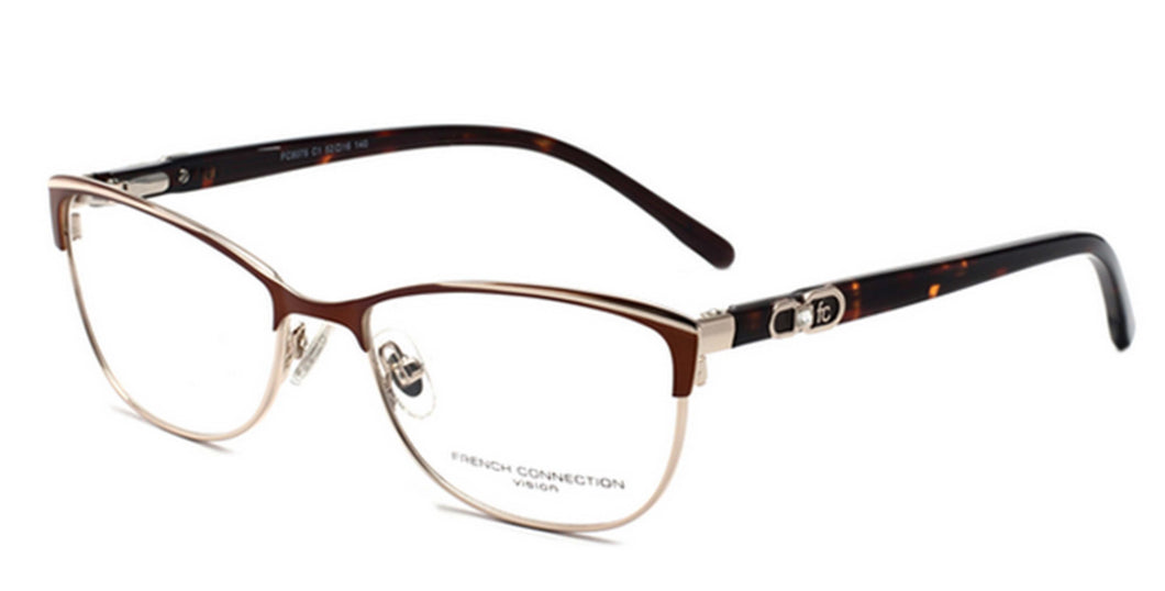 FCUK FC-8075-C1 Matte Brown/ Gold Cateye Eyeglasses