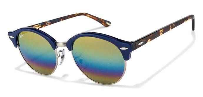 Ray-Ban RB4246 Medium (Size-51) Blue Gunmetal Golden Blue Purple Mirror Unisex Sunglasses