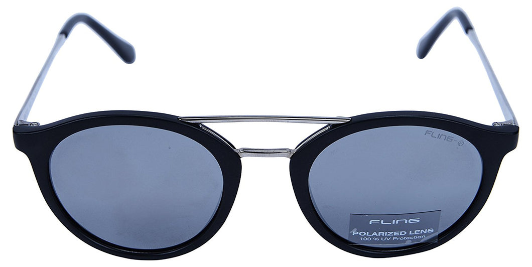 Fling Polarized Round Unisex Sunglasses - (S008_F3|48 mm|Grey Lens)