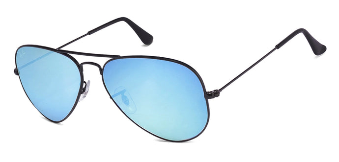 Ray-Ban RB3025 Medium (Size-58) Black Sky Blue Mirror 002/40 Unisex Sunglasses