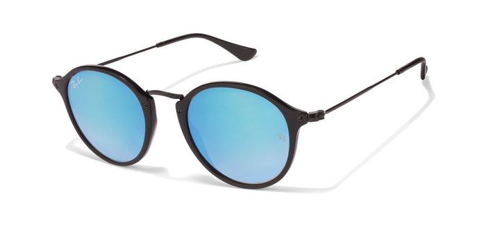 Ray-Ban RB2447 Small (Size-49) Black Sky Blue Mirror 901/40 Unisex Sunglasses