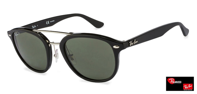 Ray-Ban RB2183 Medium (Size-53) Black Gunmetal Green Women Polarized Sunglasses