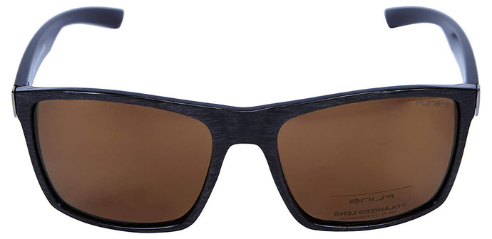 Fling Polarized Rectangular Men's Sunglasses - (S010_F2|56 mm|Brown Lens)