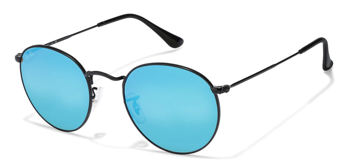 Ray-Ban RB3447 Small (Size-50) Black Sky Blue Mirror 002/40 Unisex Sunglasses