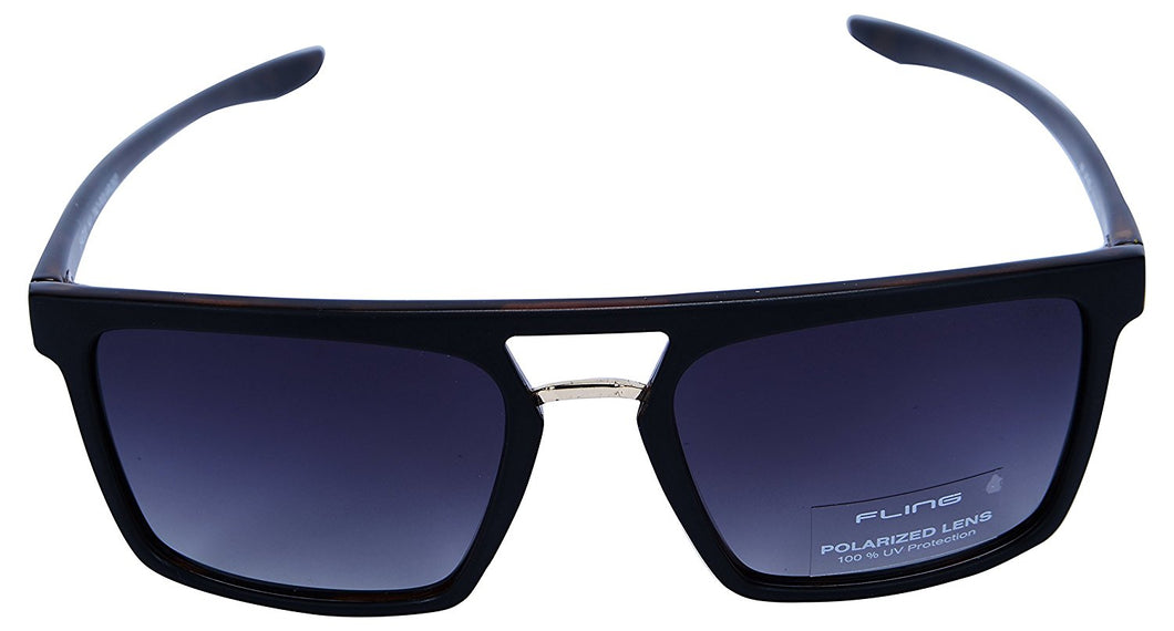 Fling Polarized Rectangular Men's Sunglasses - (S014_F1|54 mm|Grey Lens)