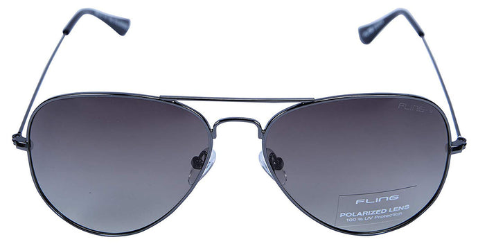 Fling Polarized Aviator Unisex Sunglasses - (S015_F4|57 mm|Grey Lens)