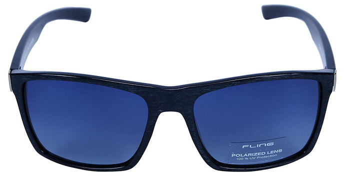 Fling Polarized Rectangular Men's Sunglasses - (S010_F3|56 mm|Blue Lens)