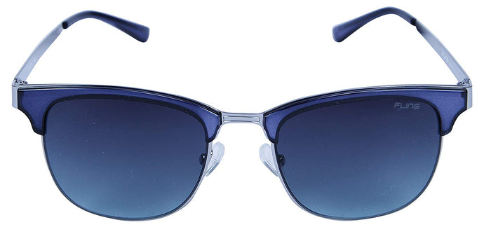 Fling Polarized Clubmaster Unisex Sunglasses - (S016_F2|52 mm|Blue Lens)