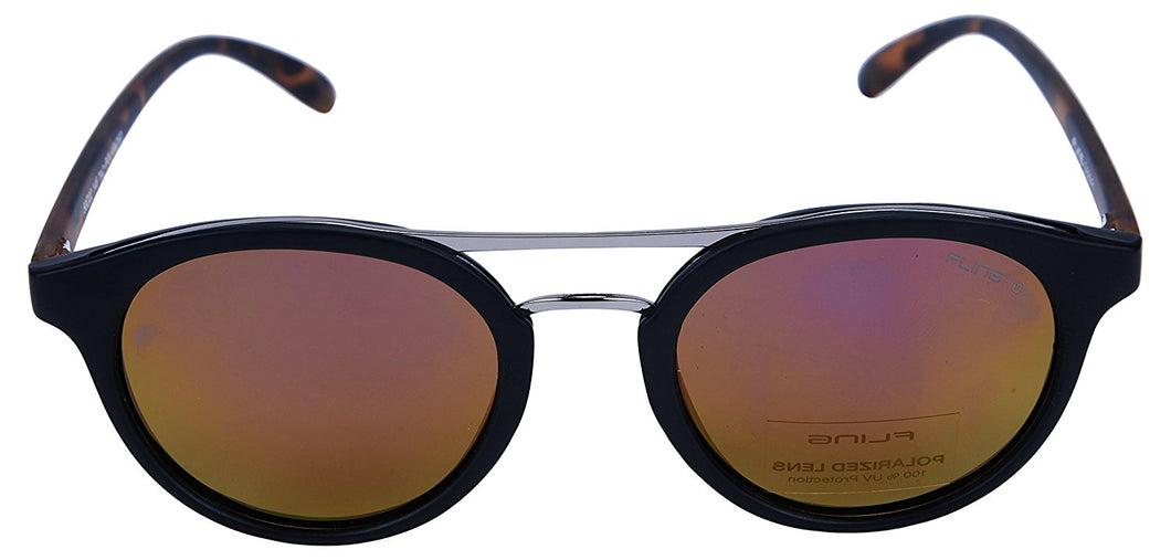 Fling Polarized Round Unisex Sunglasses - (S020_F1|50 mm|Pink Lens)