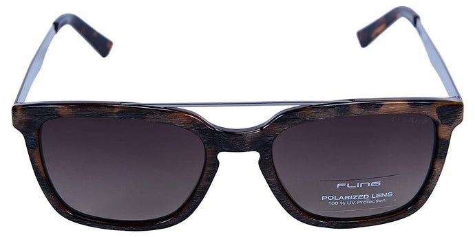 Fling Polarized Rectangular Unisex Sunglasses - (S009_F4|52 mm|Brown Lens)