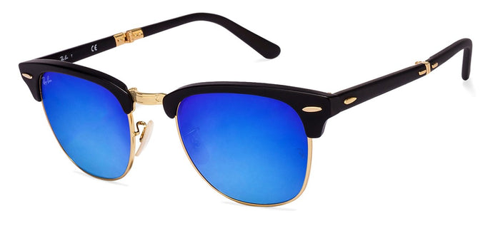 Ray-Ban RB2176 Medium (Size-51) Golden Black Blue Mirror 901-S/7Q Unisex Sunglasses