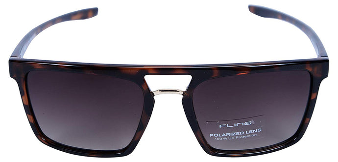 Fling Polarized Rectangular Men's Sunglasses - (S014_F4|54 mm|Brown Lens)