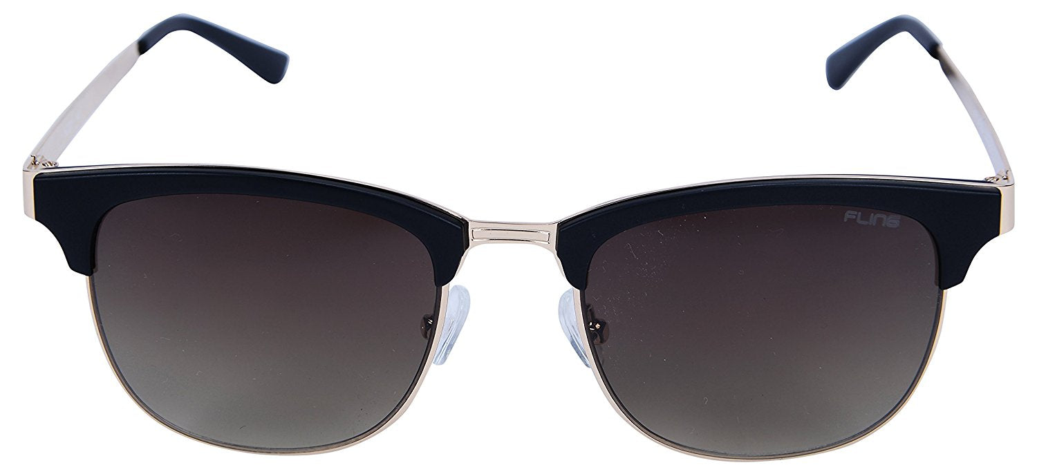 Fling Polarized Clubmaster Unisex Sunglasses - (S016_F1|52 mm|Grey Lens)