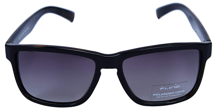 Fling Polarized Rectangular Men's Sunglasses - (S018_F4|55 mm|Grey Lens)
