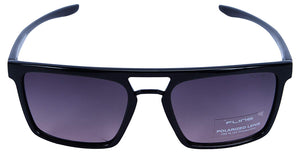 Fling Polarized Rectangular Men's Sunglasses - (S014_F2|54 mm|Black Lens)